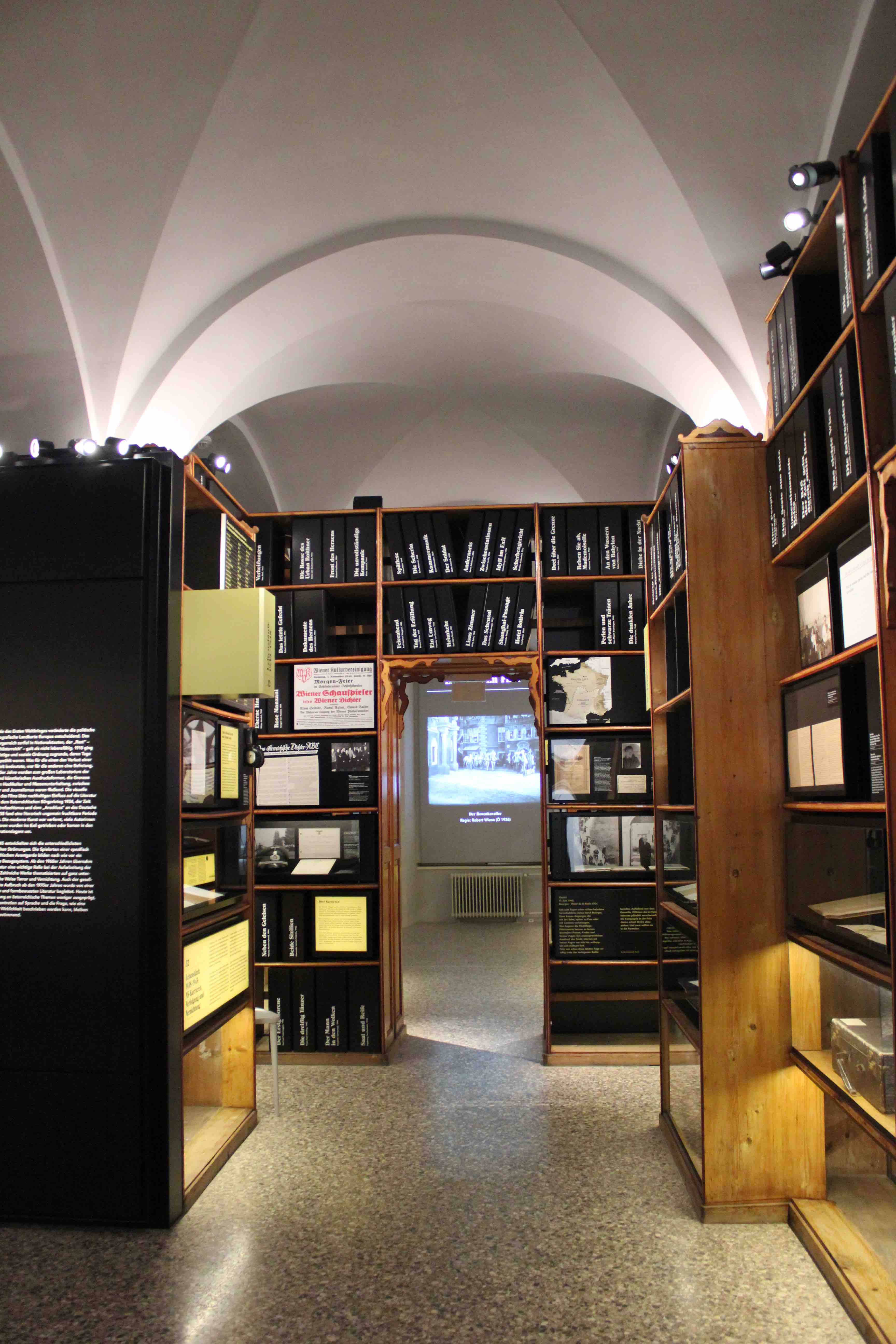 View into the exhibition rooms at the Literature Museum Vienna.