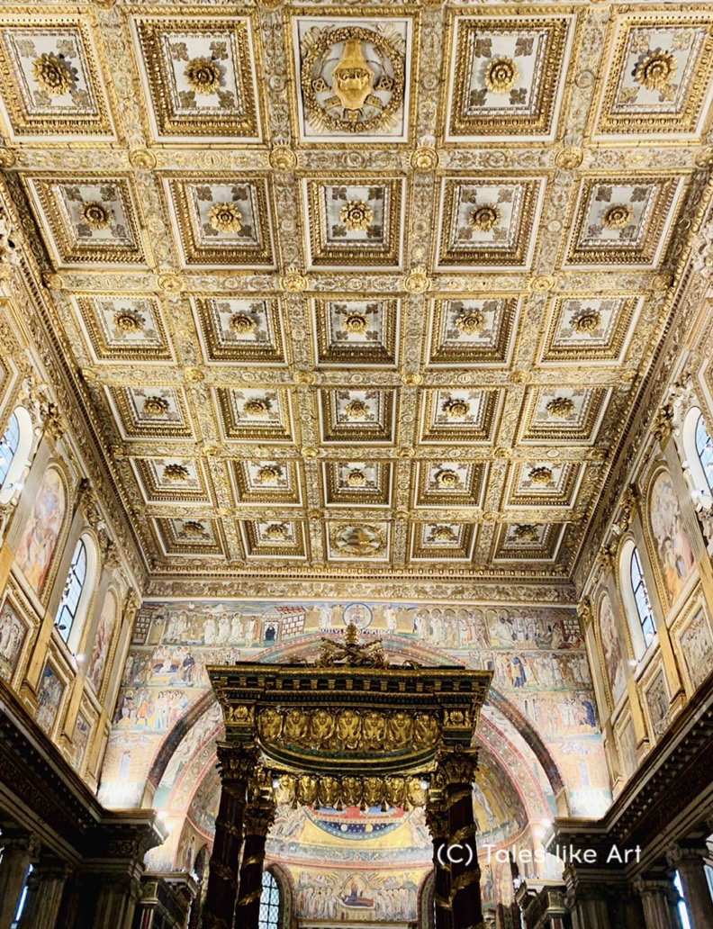 A ceiling made of pure gold in Santa Maria Maggiore