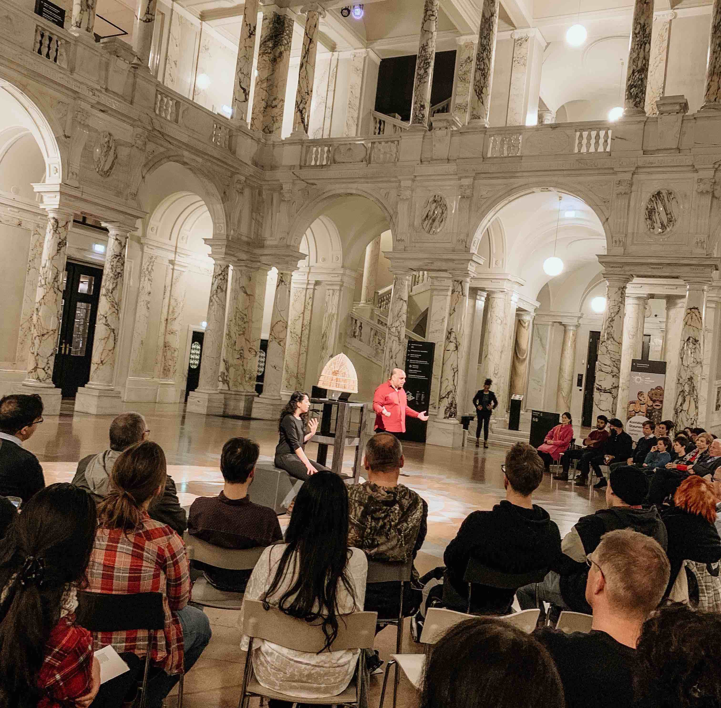 "One of the performances of ""The Power of Things"" at Weltmuseum Wien."