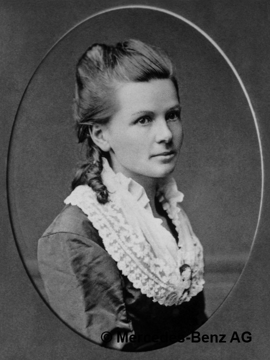 Black and white portrait of Bertha Benz, 1870.